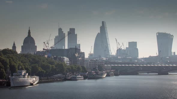 Timelapse london city skyline finance buildings england urban