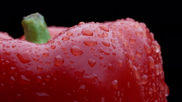 Thumbnail for Closeup Footage of Water Drop on Red Paprika Pepper. Concept of Healthy Nutrition and Organic Food