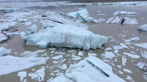 Aerial View of Melting Ice Cap as Result of Global Warming and Climate Change