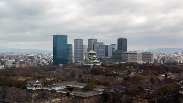 Thumbnail for Osaka Ancient Castle Against Skyscrapers Timelapse