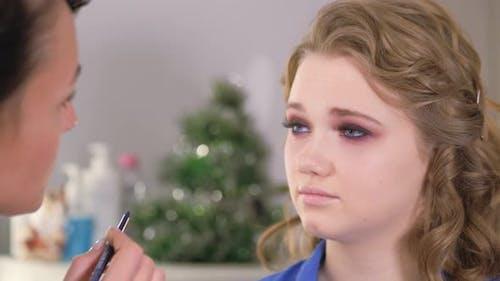 Work of a Makeup Artist. Eye Makeup.