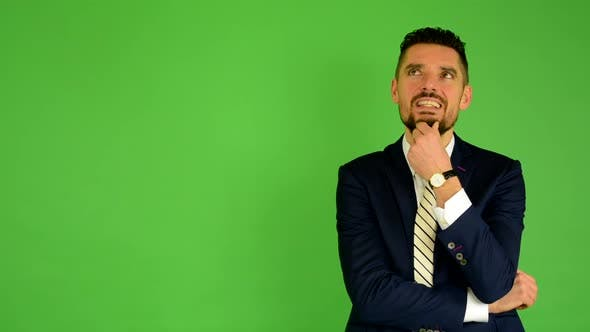 Thumbnail for Business Man Thinking, Green Screen, Studio