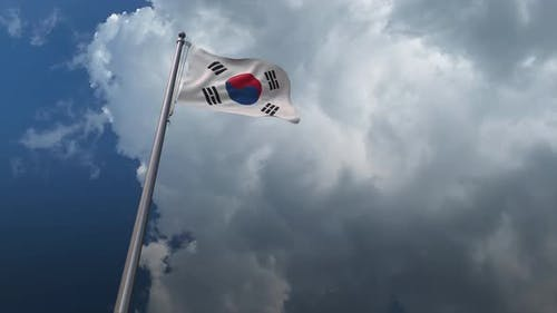 Südkorea-Flagge wehend 4K