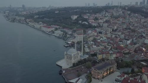 Istanbul Bosphorus Ortakoy Mecidiye Mosque Aerial