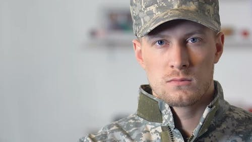 Young Soldier Looking Camera Closeup, Military Profession, Courage, Discipline