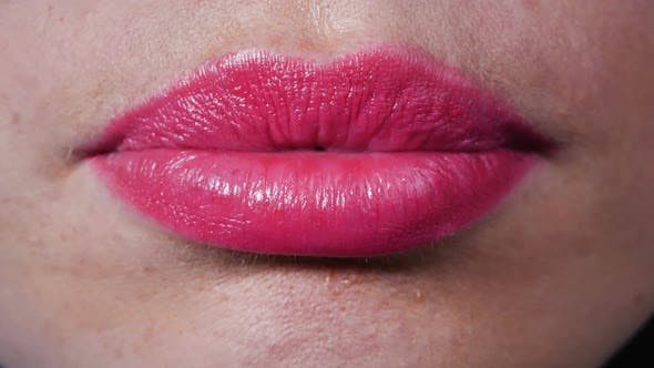 Thumbnail for Female Beautiful Lips, Lips Pursing. Close-up of Full Lips, White Beautiful Teeth.
