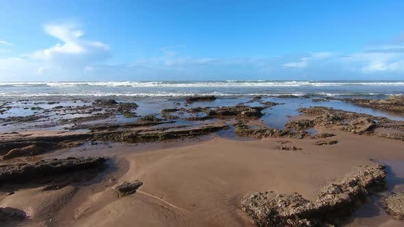 Thumbnail for Empty Beach in Sunny Summer Day in Vacation in Morocco Ocean Coast