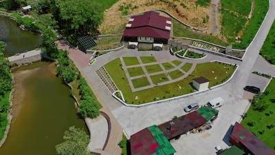 Rural recreation center. Aerial view of tourist recreation center