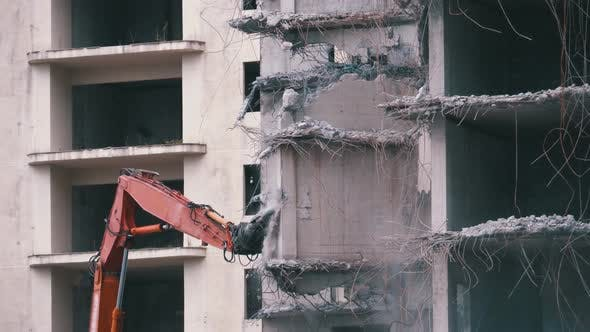 Thumbnail for Destroying Old Concrete House Using Mechanical Arm of Bulldozer on Construction Site