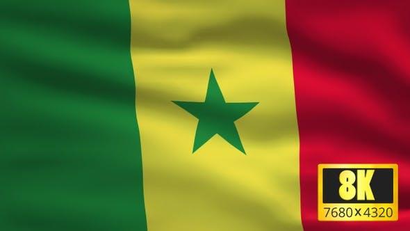 8K Senegal Windy Flag Background