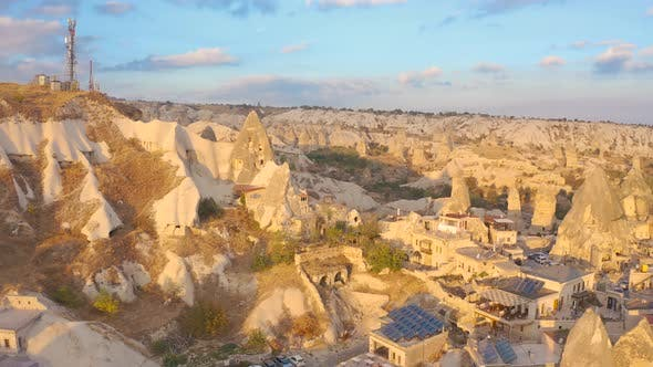 Old city Goreme of stone pillars and caves. Fabulous landscapes of the mountains of Cappadocia
