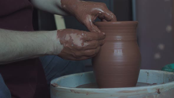 Handwork in a Pottery Workshop