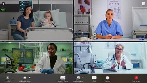 Split Screen Montage of People Related to Science Medicine and Hospital Ward