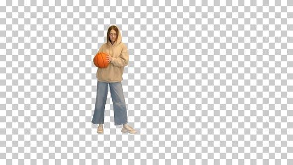 Lässiges Mädchen tanzen Basketball, Alpha Channel