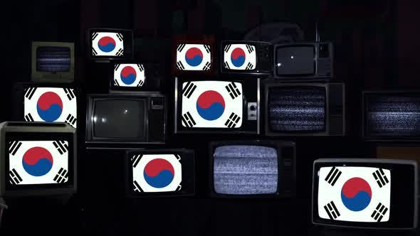 Thumbnail for Flags of South Korea and Vintage Televisions.