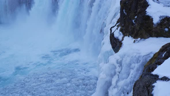 Thumbnail for View of Beautiful Godafoss Waterfall in Winter Iceland 4