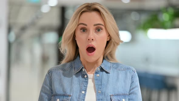 Young Casual Woman Feeling Shocked, Surprised