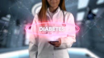 Female Doctor Hologram Word Illness Diabetes