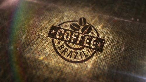 Coffee Brazil sign stamp on linen sack loop