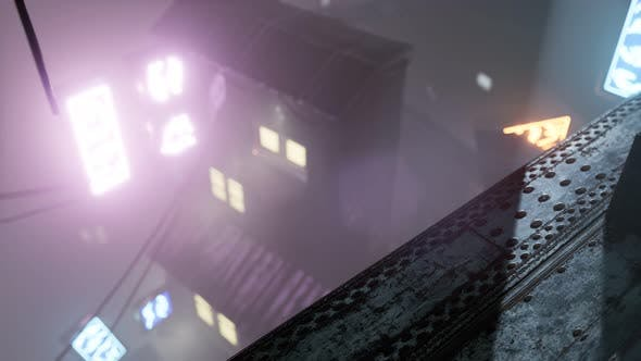 Thumbnail for Neon Lights in Soft Focus on Street with Fog at Night