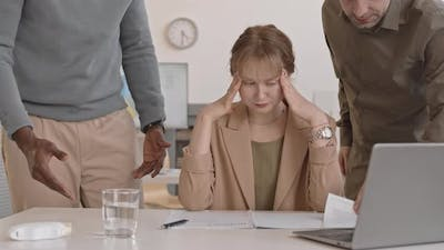 Woman Depressed by Rush in Office