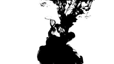 Black ink on white background