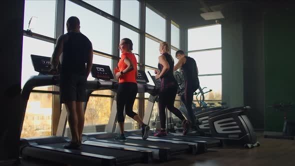 Young Athletic Men and Women Exercising and Running on Treadmill in Sport Gym