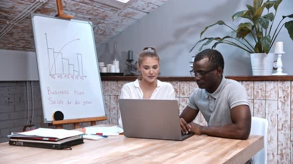 Successful African-american Man and Caucasian Woman at the Business Meeting - Looking in the Laptop