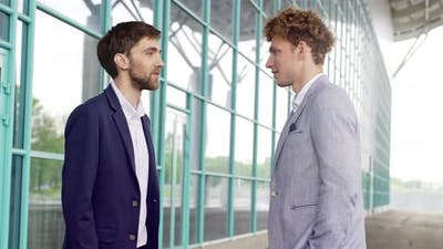Businessman Waiting for Business Partner Coworker in Suit