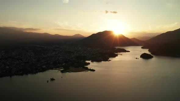 Thumbnail for Panoramic View of Mt. Fuji at Sunset at Lake Kawaguchiko, Japan. Aerial View.