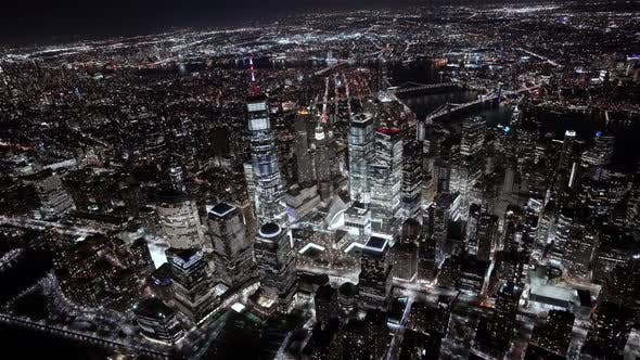 Wide angle view of the Financial district at Night as seen from a helicopter