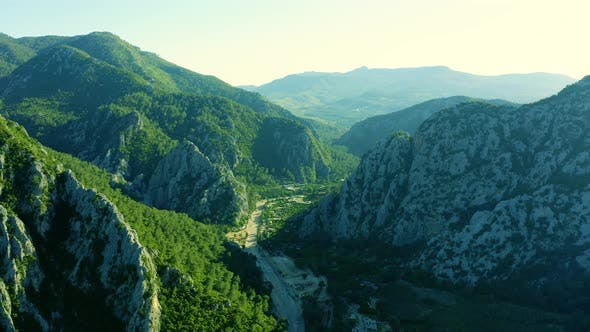 Aerial View of Valley Near Ancient Olympos Ruins City Located in Antalya Region Turkey