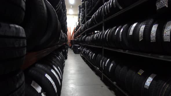 Thumbnail for Car Tires At Warehouse In Tire Store