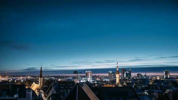 Tallinn, Estonia, Europe. Time Lapse Time-lapse Night To Day, Of Cityscape, Transition From Night