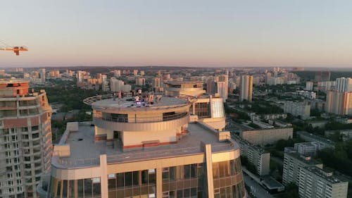 Aerial View of Skyscrapers in evening city 24