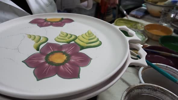 Thumbnail for Hand Painted  Artist Porcelain Plate Flower Figure Is Working
