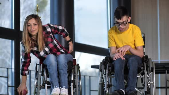 Thumbnail for Excited Bocce Players in Wheelchairs During Game