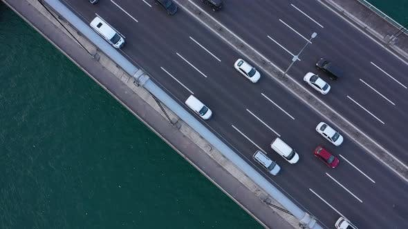 Thumbnail for Istanbul Bosphorus Bridge Traffic Top To Bottom Aerial View