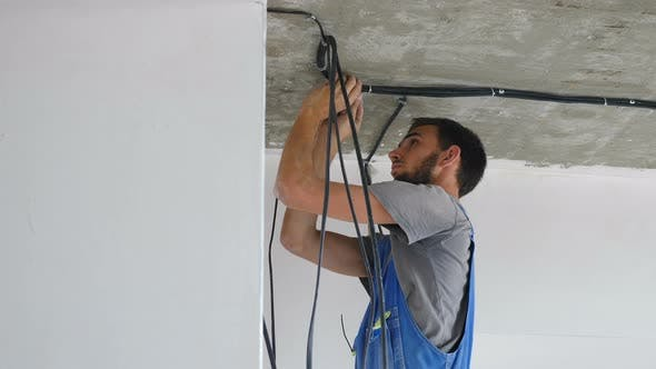 Installation of Electrical Wiring on Apartment Ceiling