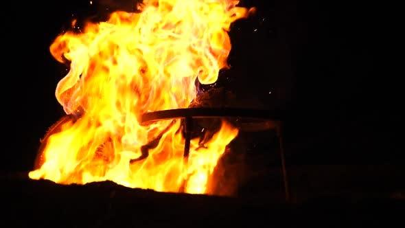 Thumbnail for Bonfire Burning In The Dark. Slow Motion