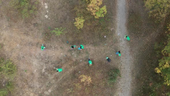 Thumbnail for Top View of Multiracial Volunteers Picking Trash