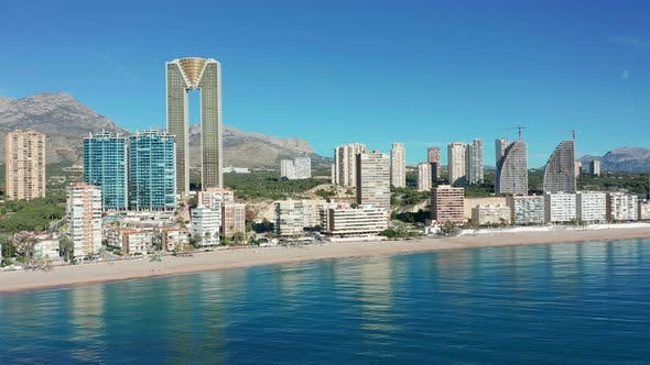 Thumbnail for Aerial Skyline of Benidorm, Spain. Benidorm Seaside