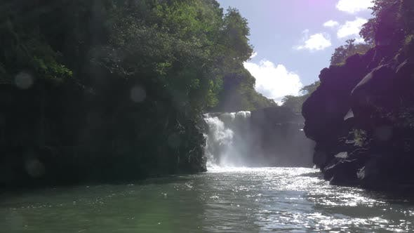 Thumbnail for Waterfall and Black Volcanic Rocks in Mauritius