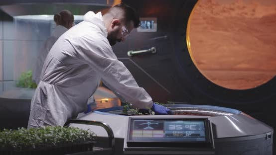 Thumbnail for Astrobiologists Planting Seedlings on a Mars Base
