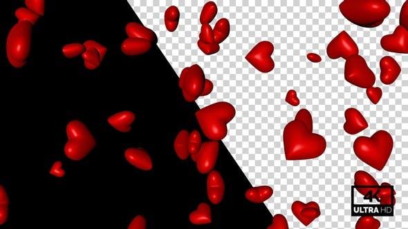 Randomly Flying Glossy Heart