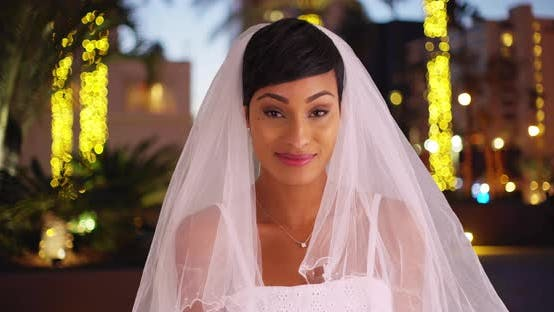 Thumbnail for Elegant black female in wedding dress smiling at camera outdoors in evening