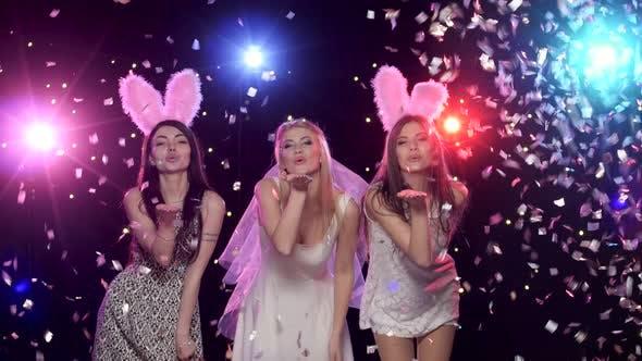 Thumbnail for Girls Dancing at Bachelorette Party Against Stroboscope Lamps Glitter Confetti