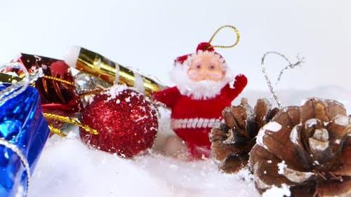 Raining Snow On Santa Claus And Christmas Decoration 2