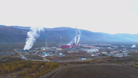 Thumbnail for Factory, Smoke Coming Out of Smokestacks. Global Warming and Air Pollution