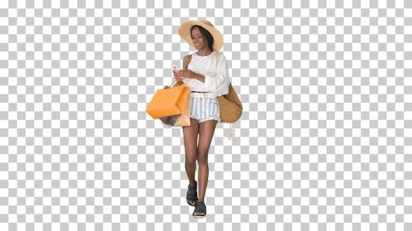 Thumbnail for Happy african american woman in hat walking, Alpha Channel